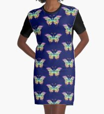Colourful Butterfly Graphic T-Shirt Dress