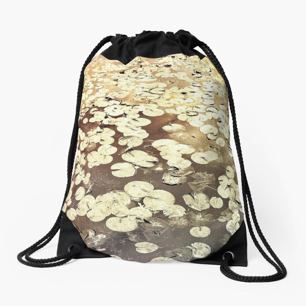 Golden Lily Pads - Art Photography - Nature Decor Drawstring Bag
