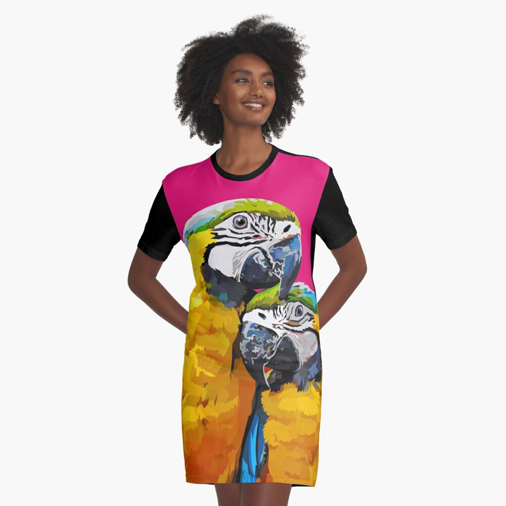 Two lovely parrots Graphic T-Shirt Dress