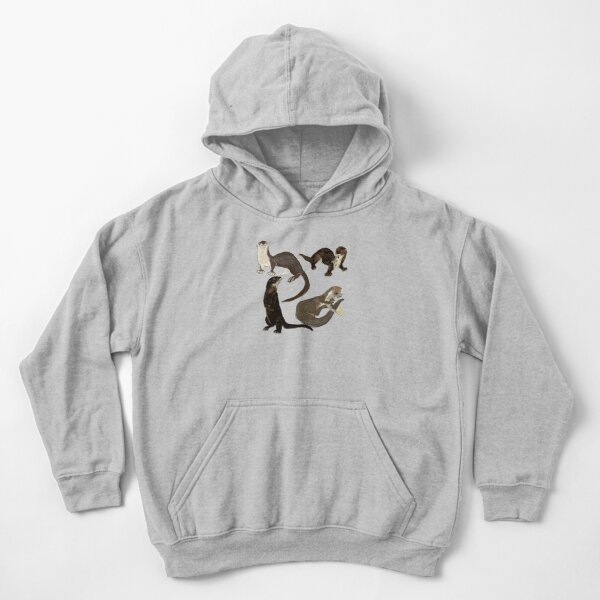 Old World otters Kids Pullover Hoodie