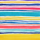 Sunny Day Stripes Colorful Watercolor Pattern by blueskywhimsy