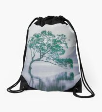 """""""The Tree In The Lake"""" by Cat Burton Drawstring Bag"""