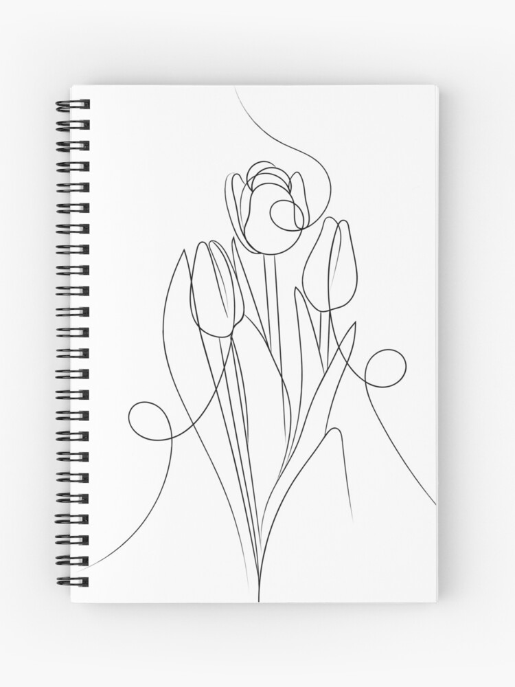 Cahier A Spirale Dessin Au Trait Fleur De Tulipe Par Adamregester Redbubble