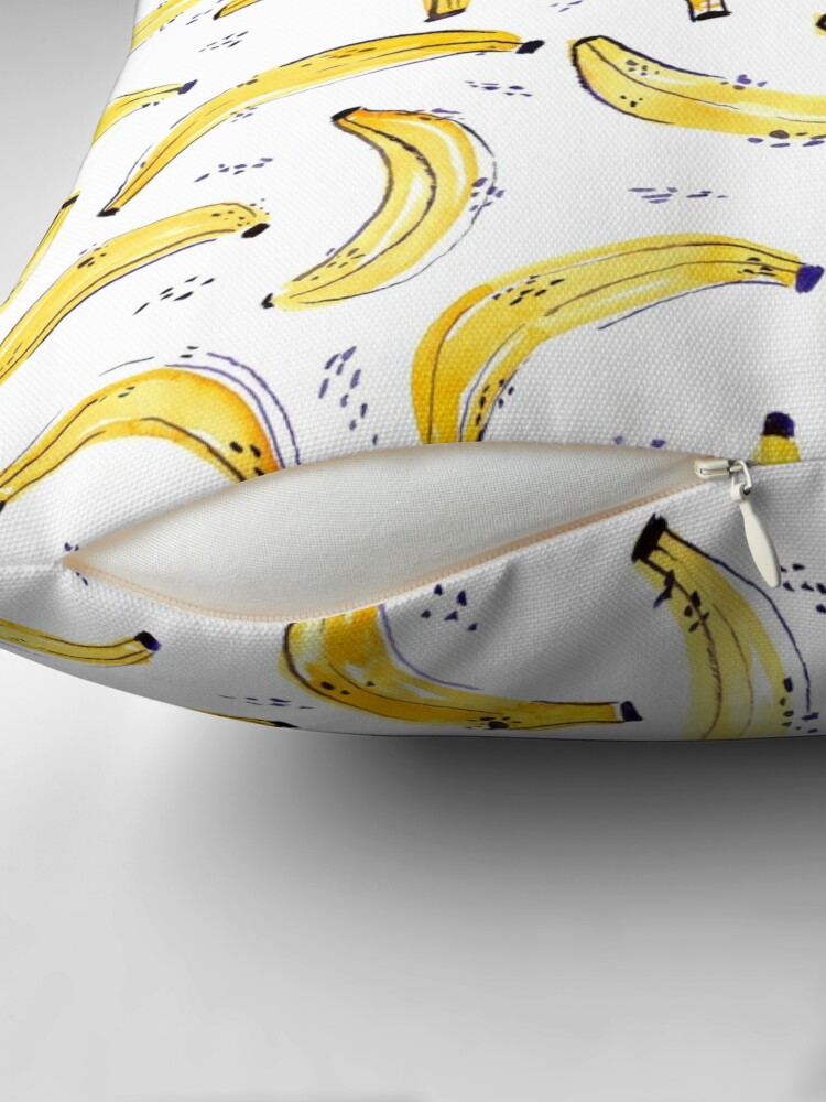 Alternate view of A Bunch of Bananas Watercolor Pattern Throw Pillow