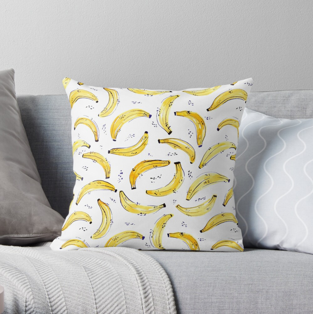 A Bunch of Bananas Watercolor Pattern Throw Pillow