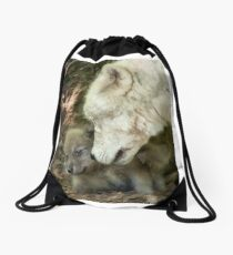 Arctic Wolf And Pups Drawstring Bag