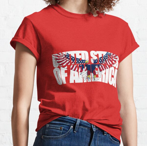 090-916 United States of America with an American Flag Eagle-dark background Classic T-Shirt