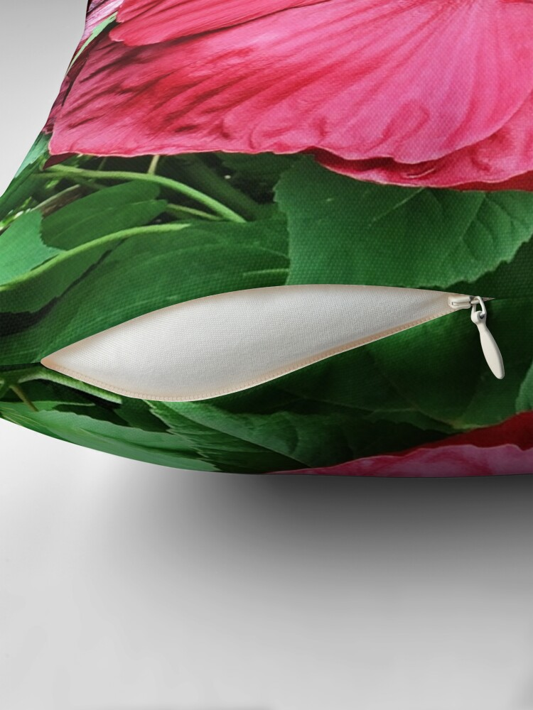 Alternate view of Hibiscus High - Tropical Flower Art Photo by OneDayOneImage - Gift for Gardener - Flower Lover Throw Pillow