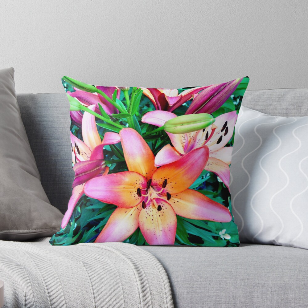 Lilypalooza - Floral Art Photography - Pink and Orange Lily Flower - Gift for Gardener  Throw Pillow
