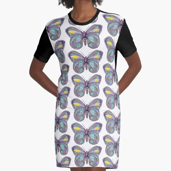 Vintage Butterfly Graphic T-Shirt Dress