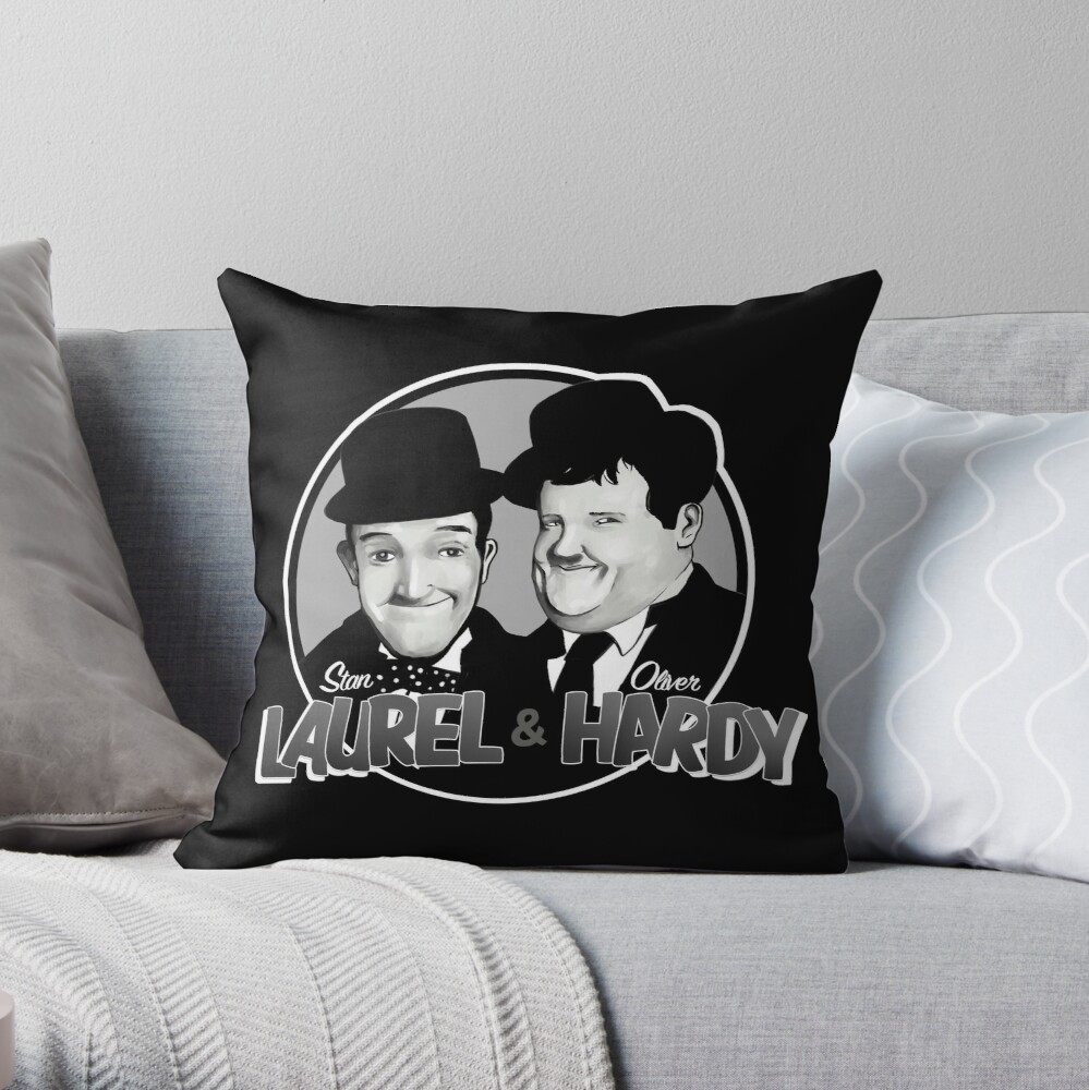 Laurel and Hardy design Throw Pillow