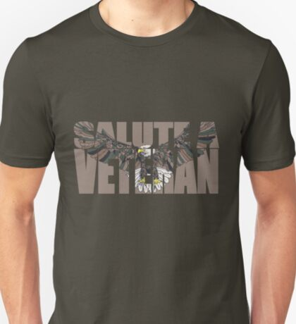 090-923 Salute a Veteran with a woodland camouflaged American Bald Eagle-tan T-Shirt