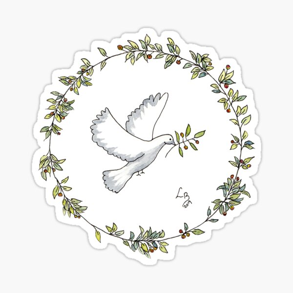 Hope a Olive Leaf Wreath with Dove Sticker