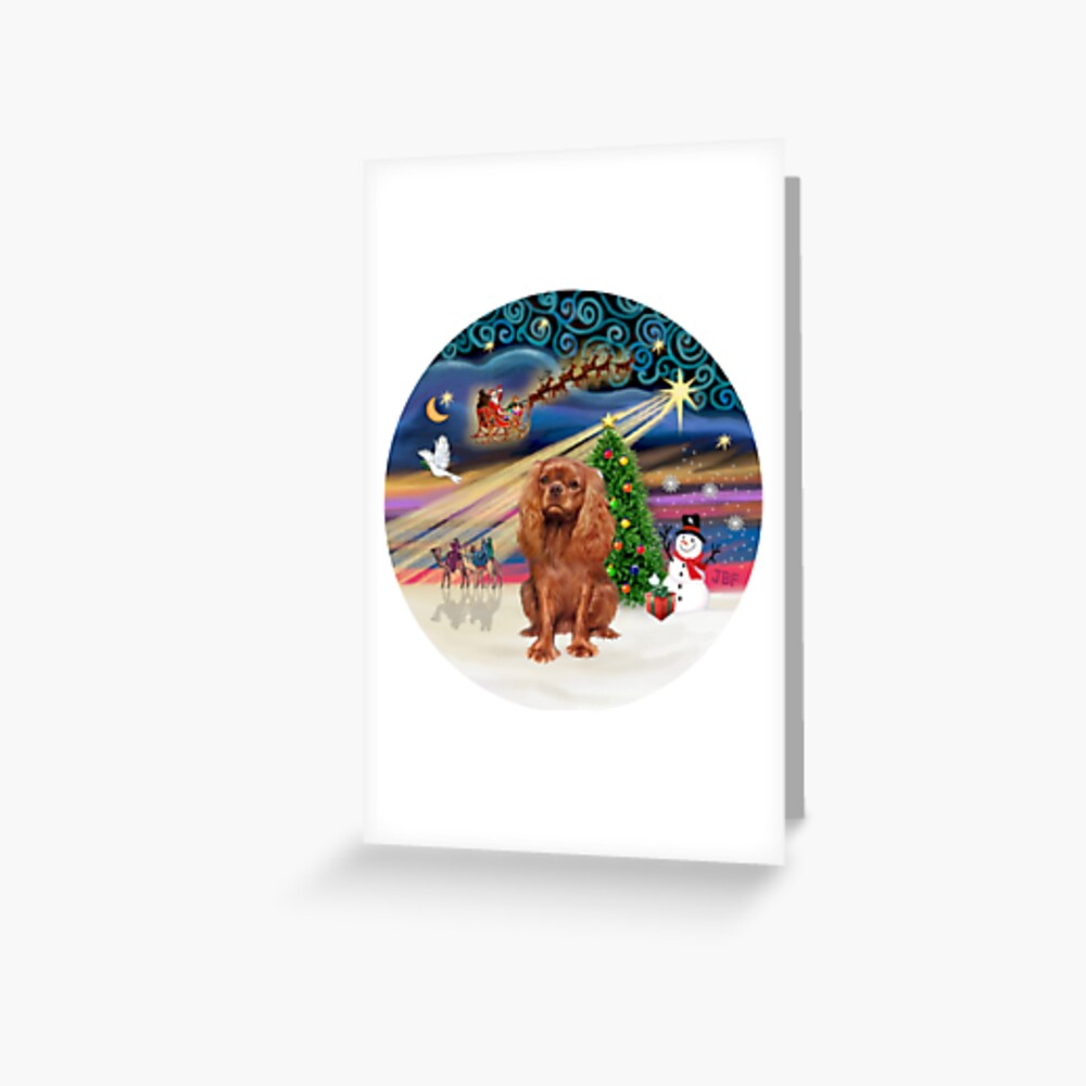 Christmas Magic with a Cavalier King Charles Spaniel (ruby) Greeting Card
