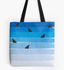 Sharks - shark week trendy black and white minimal kids pattern print ombre blue ocean surfing  Tote Bag