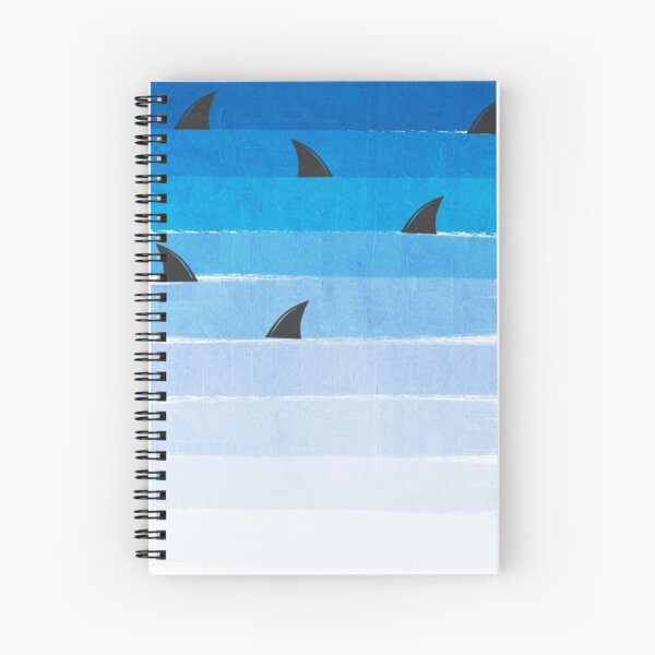 Sharks - shark week trendy black and white minimal kids pattern print ombre blue ocean surfing  Spiral Notebook