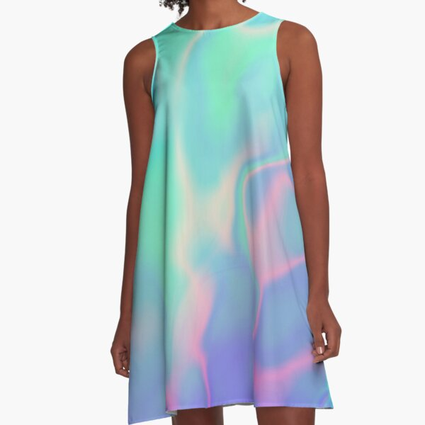 Rainbow Sea Holographic Iridescence A-Line Dress