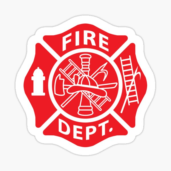 Fire Department Emblem St Florian Maltese Cross Red with White Outline Sticker