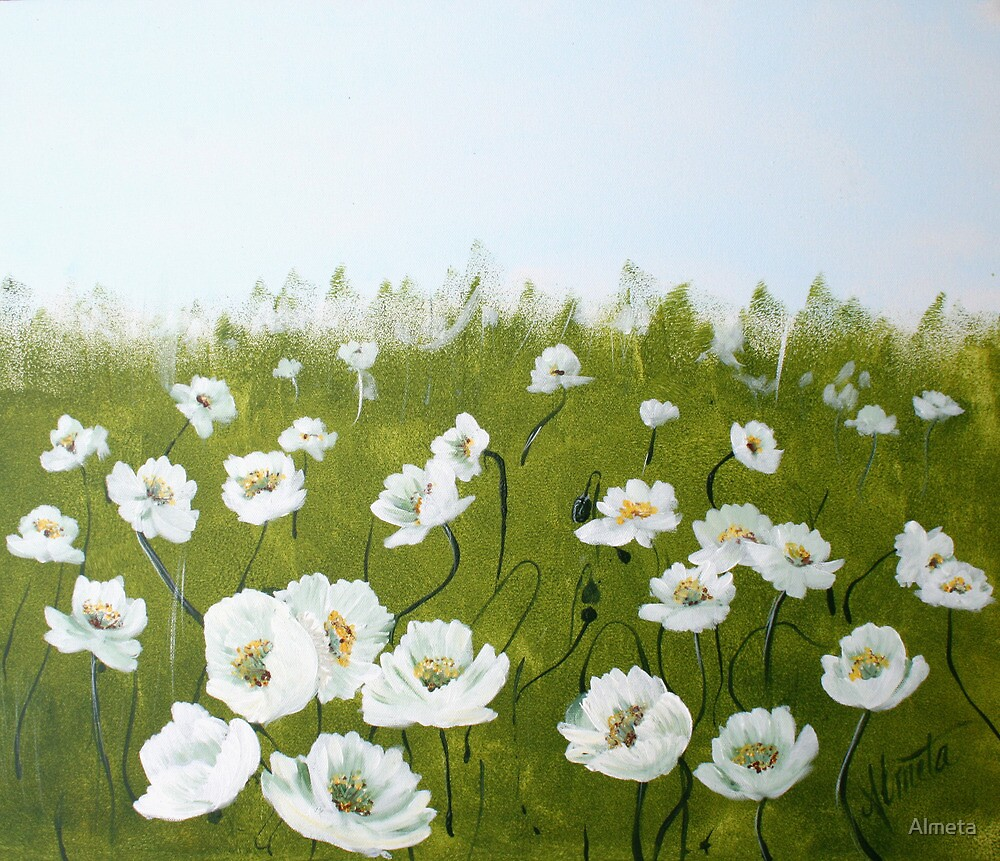 Quot Field Of White Poppies Quot By Almeta Redbubble