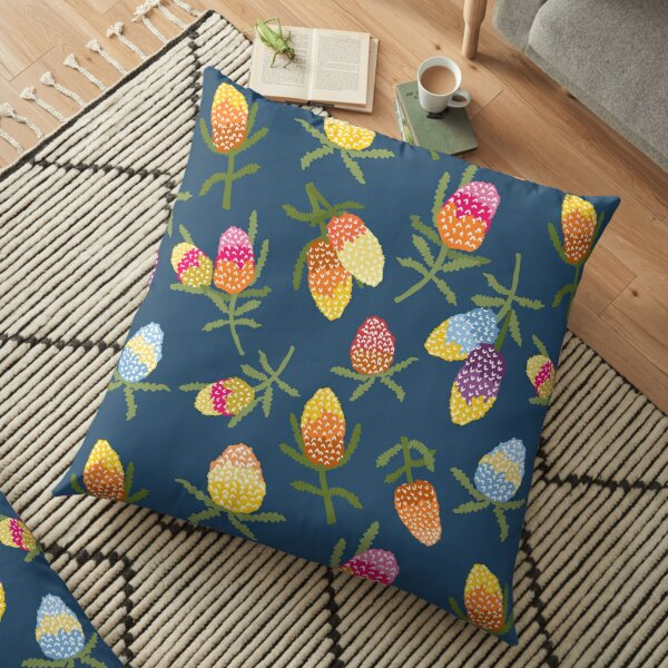 Funky colourful banksias Floor Pillow