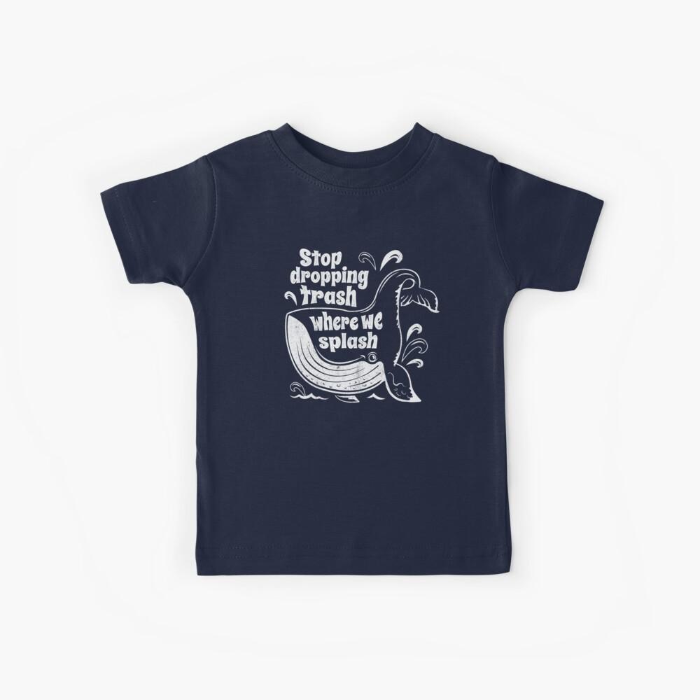Stoppen Sie den Papierkorb dort, wo wir plätschern - Walschutz Kinder T-Shirt