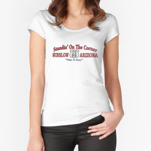 Standing on the corner in Winslow AZ Fitted Scoop T-Shirt