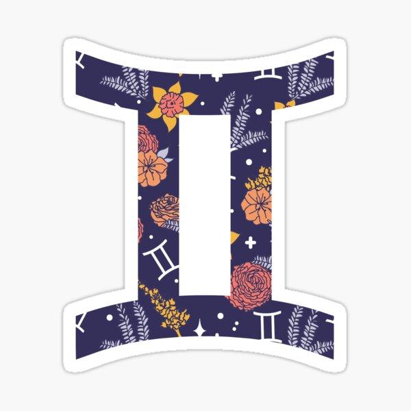 Gemini Floral Pattern - DARK Sticker