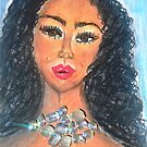 Pastel Drawing of a Girl With Curly Hair Ar by IvanaKada