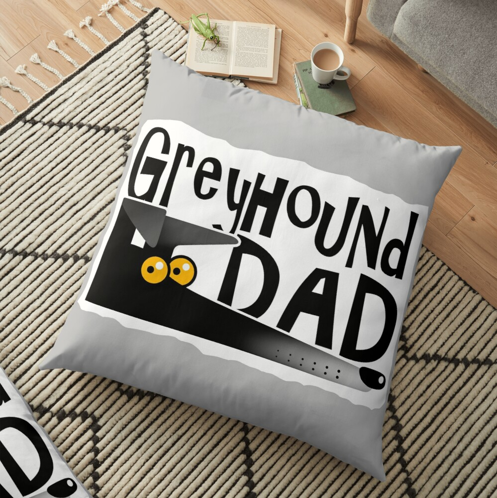 Greyhound Dad (black) Floor Pillow