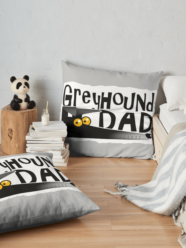 Alternate view of Greyhound Dad (black) Floor Pillow