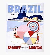 Brazil Vintage Travel Poster Restored Photographic Print