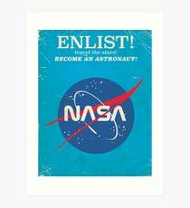 Melden Sie sich an, um Astronaut zu werden! Weinlese-NASA-Plakat Kunstdruck