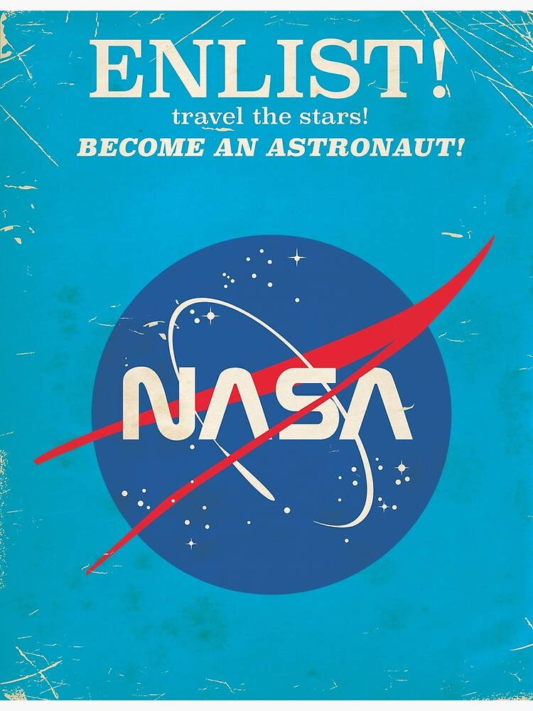 Enlist to become an Astronaut! Vintage nasa poster by vectorwebstore