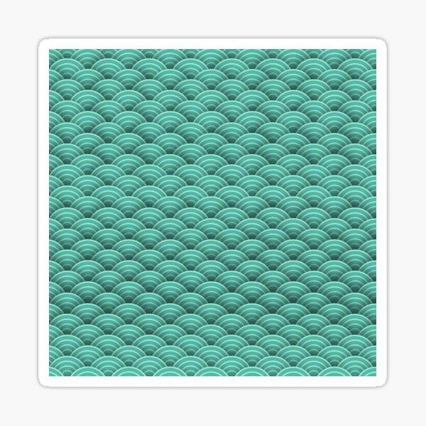 Japanische grüne Art Deco-Wellen Sticker