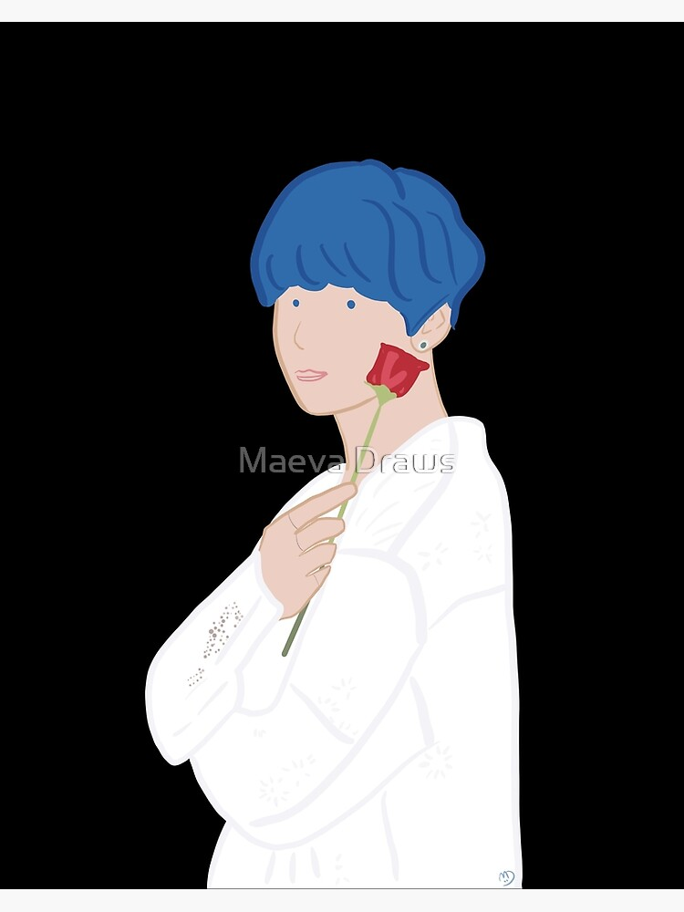 Kim Taehyung V Bts Persona With Rose Blue Hair Art Board Print By