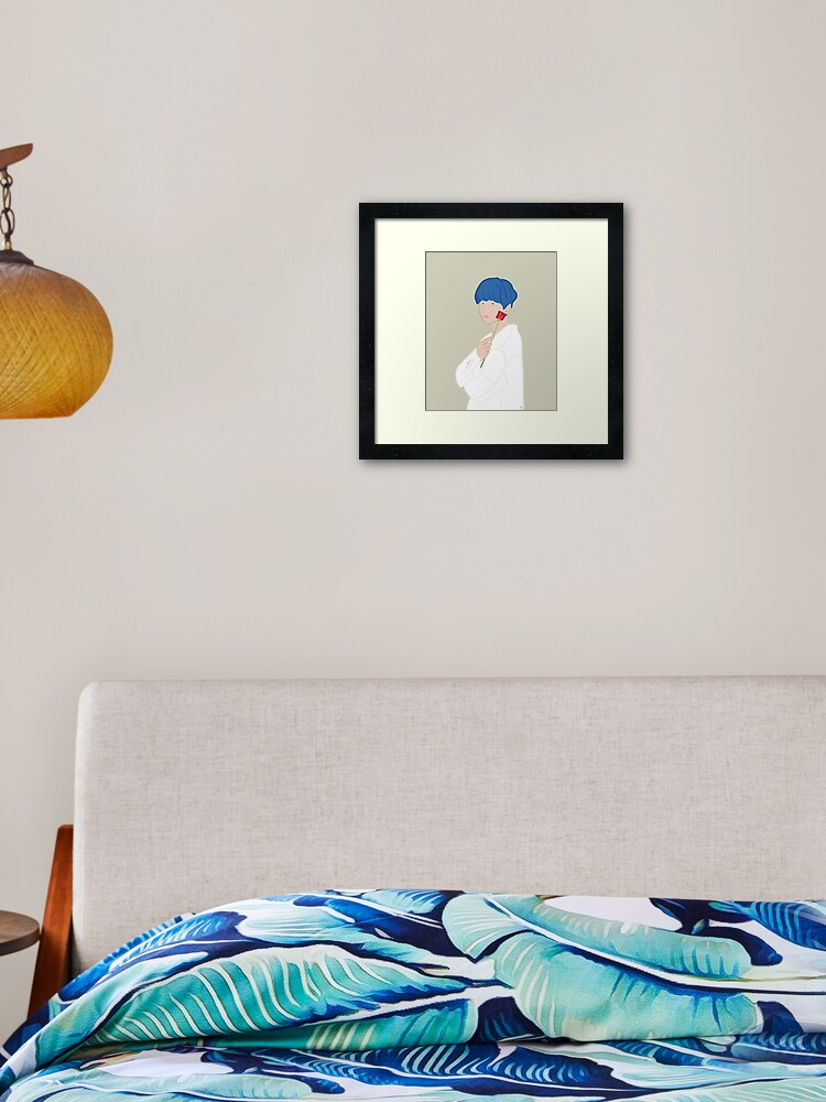Kim Taehyung V Bts Persona With Rose Blue Hair Framed Art Print
