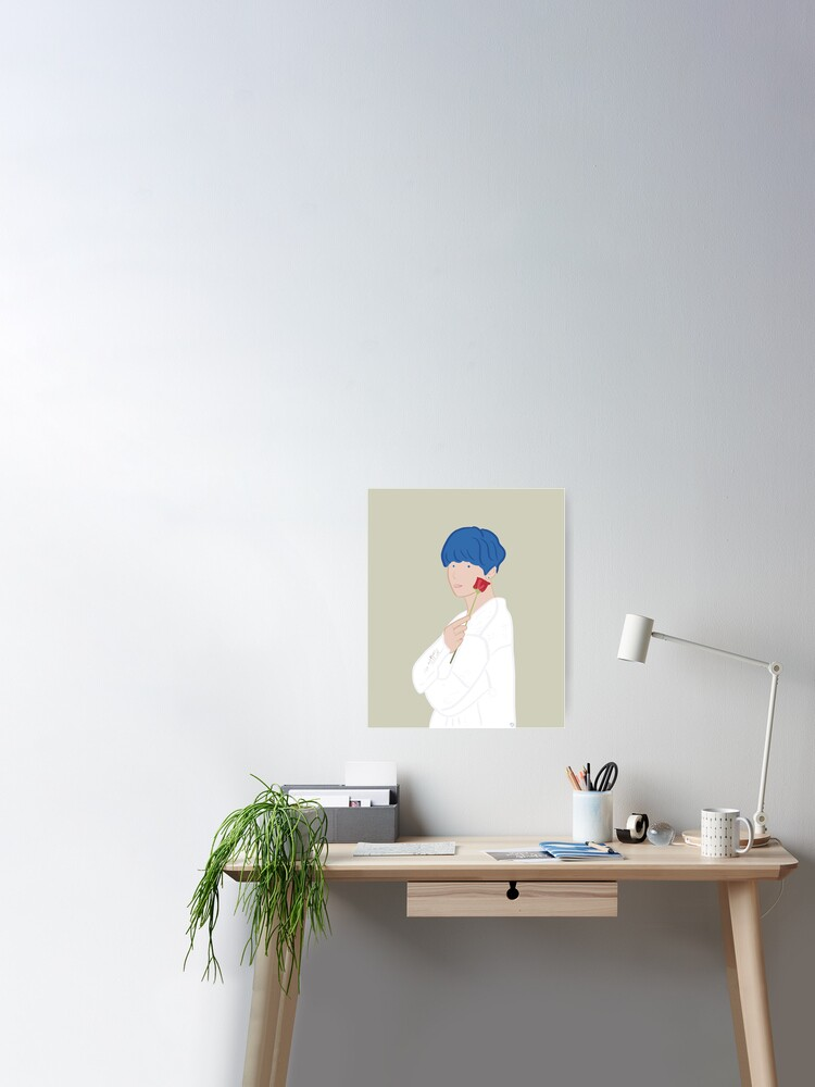 Kim Taehyung V Bts Persona With Rose Blue Hair Poster By
