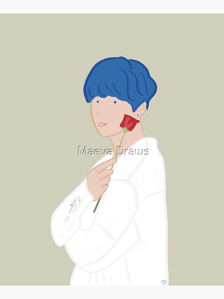 Kim Taehyung V Bts Persona With Rose Blue Hair Greeting Card By