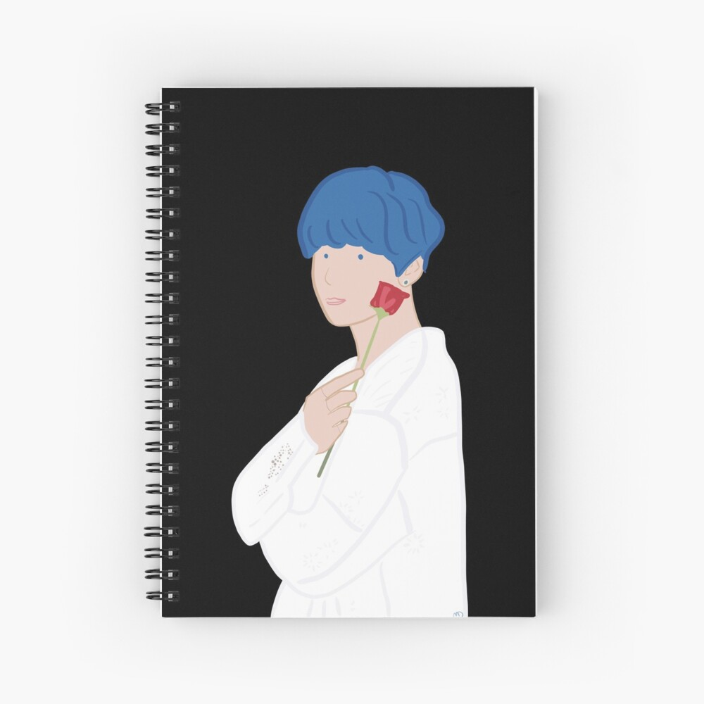 Kim Taehyung V Bts Persona With Rose Blue Hair Hardcover Journal