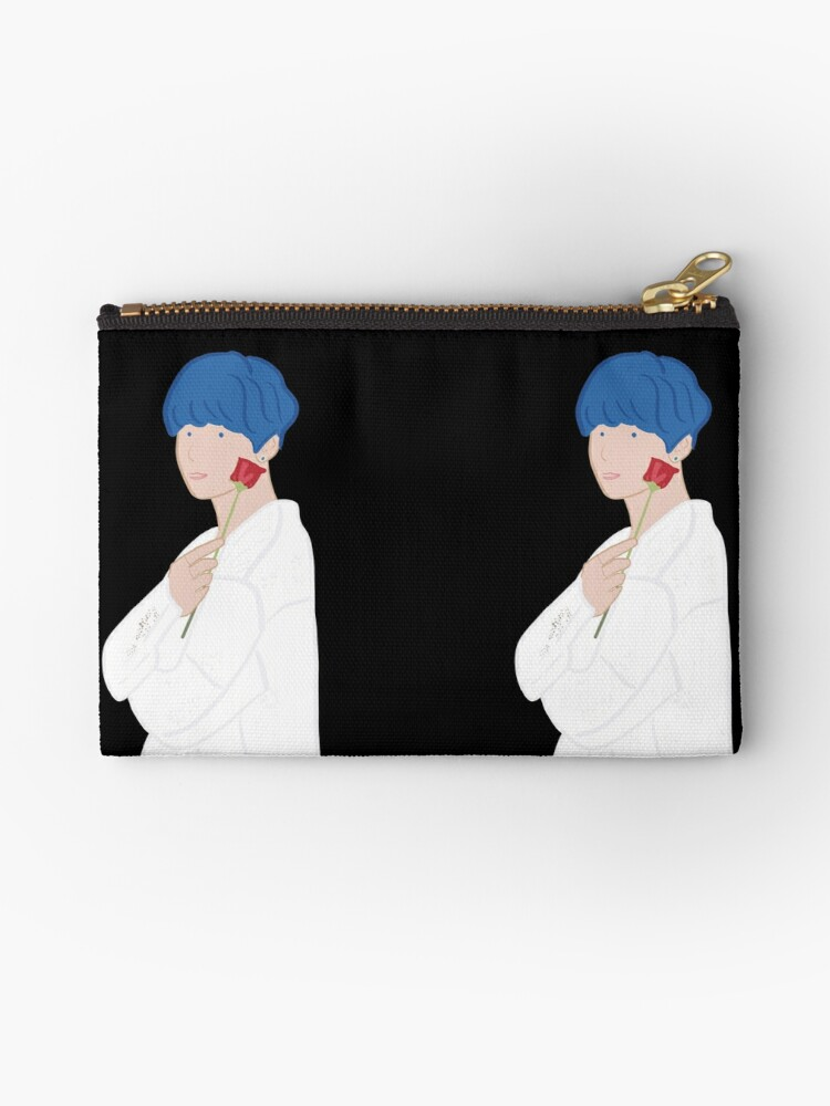 Kim Taehyung V Bts Persona With Rose Blue Hair Zipper Pouch By