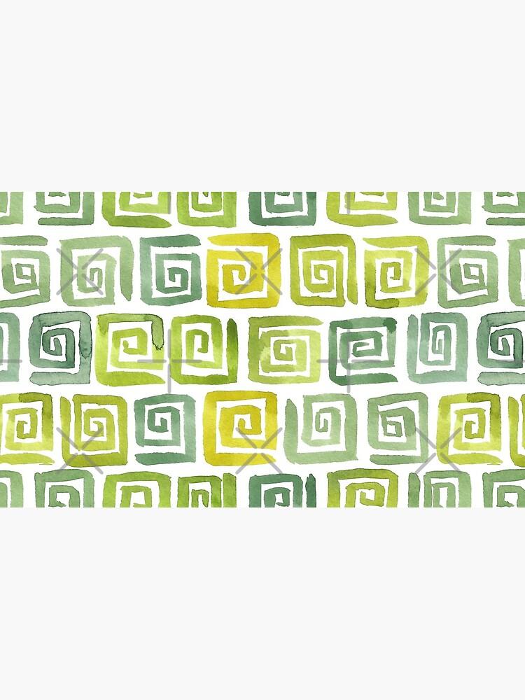 Watercolor Greek Key Pattern - Yellow Green by annieparsons