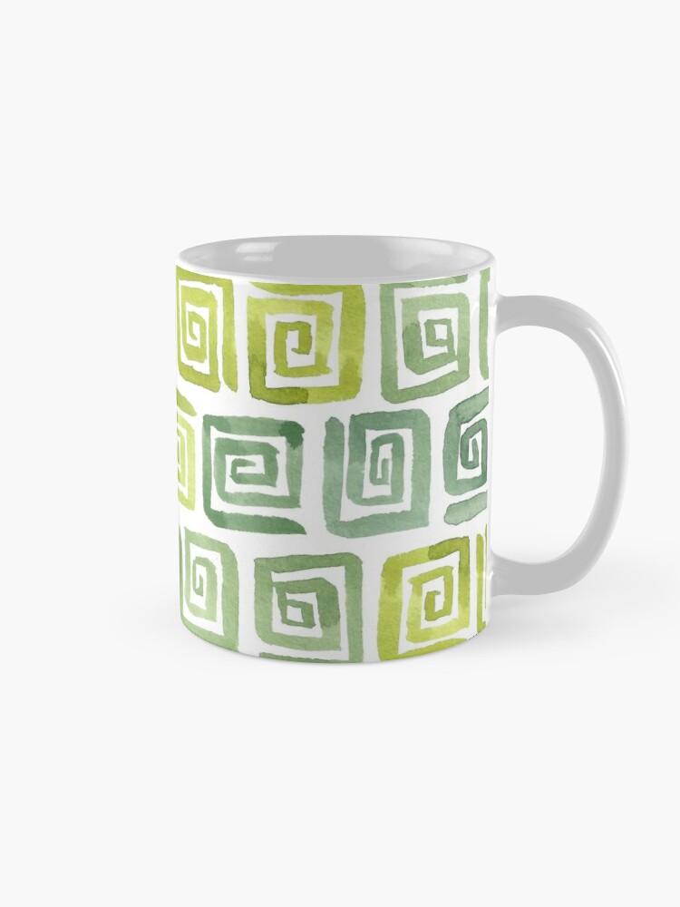 Alternate view of Watercolor Greek Key Pattern - Yellow Green Mug