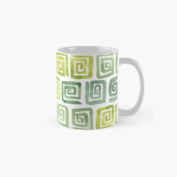 Watercolor Greek Key Pattern - Yellow Green Classic Mug