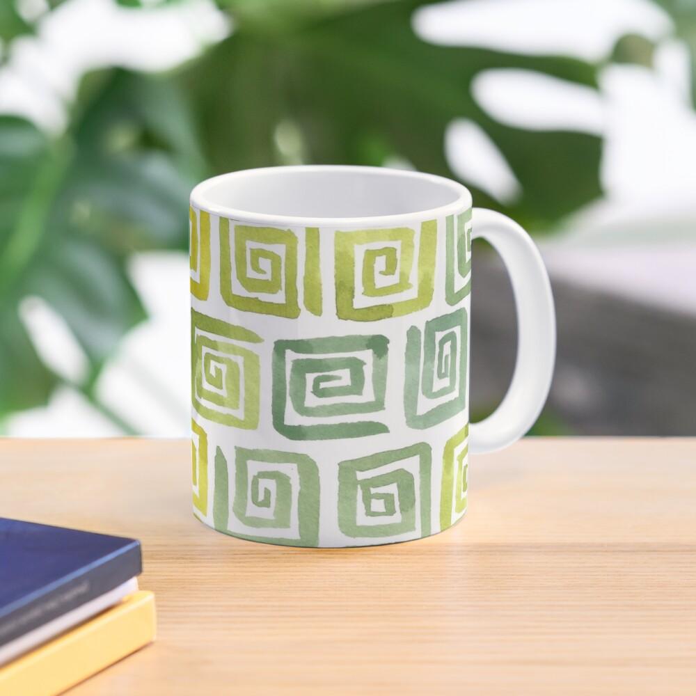 Watercolor Greek Key Pattern - Yellow Green Mug
