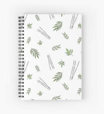 Bamboo leaves - green black and white Spiral Notebook