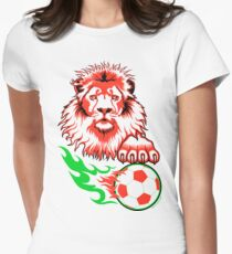 African Soccer Lion Womens Fitted T-Shirt