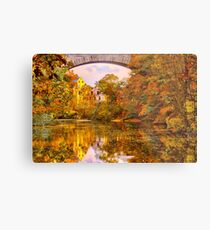 Fall at Upper Falls, Massachusetts. Echo Bridge Metal Print