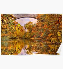 Fall at Upper Falls, Massachusetts. Echo Bridge Poster