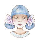 cute kawaii girl with blue hair by trudette