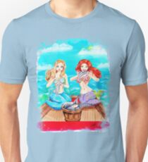 'She Did It' mermaid sisters (uneven border) Slim Fit T-Shirt